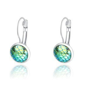 3/$20 New Silver & Green Mermaid Scale Earrings